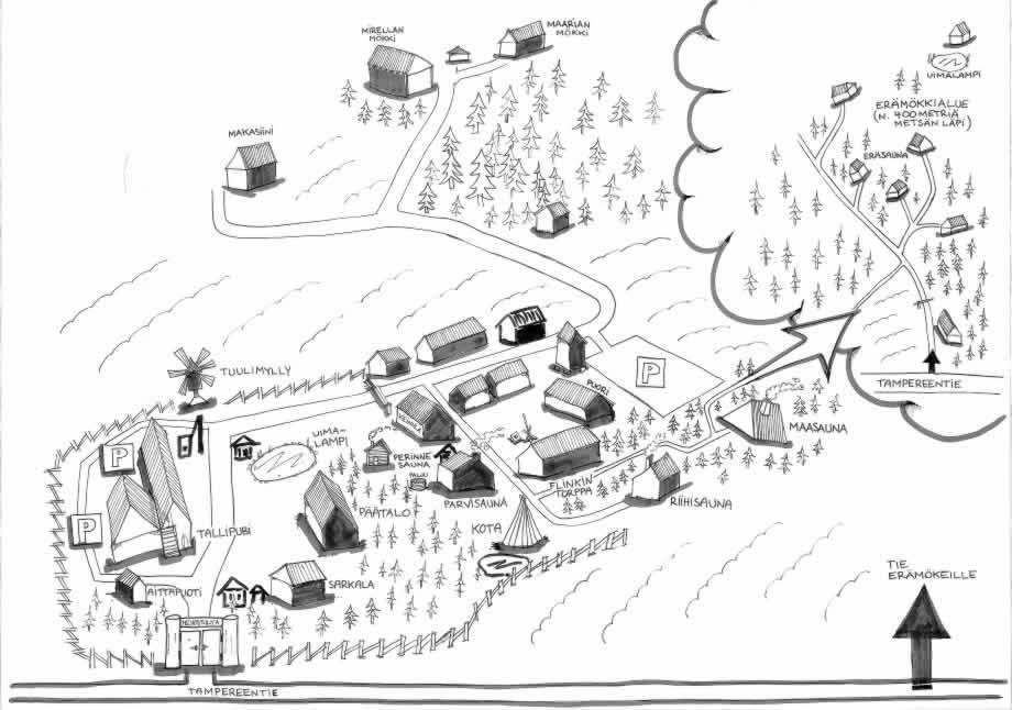 Hevossilta - aluekartta